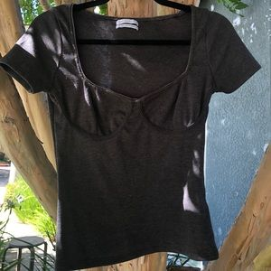 Charcoal gray bustier top